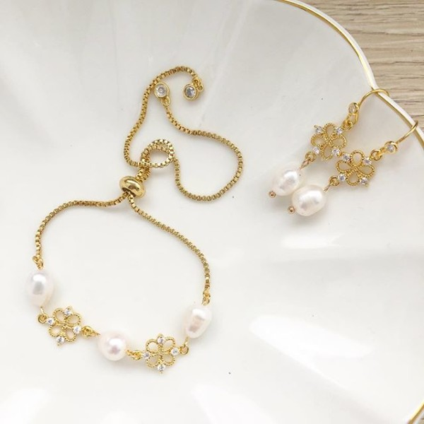 Purity Dainty Adjustable Bracelet and Matching Earrings - Diary of a Miniature Enthusiast