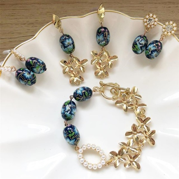 Gold and Blue Lillies Bracelet and Earrings - Diary of a Miniature Enthusiast