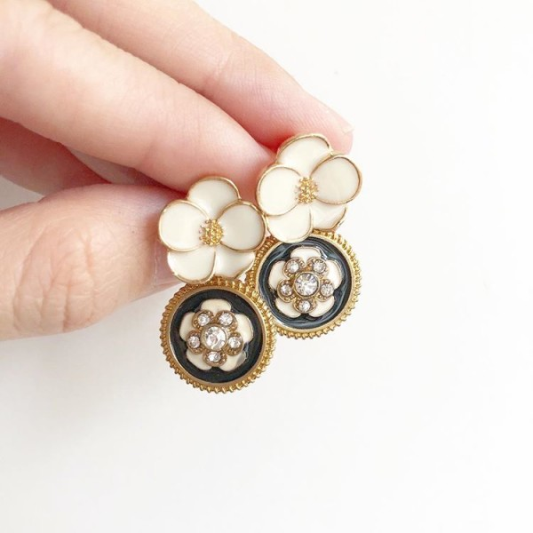 White, Gold and Black Floral Earrings - Diary of a Miniature Enthusiast