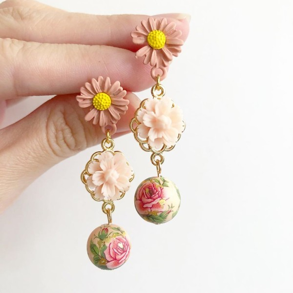 Springtime Blossoms Pale Blush Classic Rose Earrings - Diary of a Miniature Enthusiast