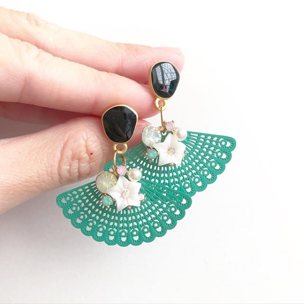 Floral Cluster Turquoise Fan Earrings - Diary of a Miniature Enthusiast