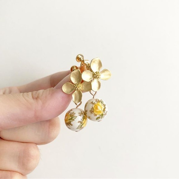Gold and Yellow Floral Earrings - Diary of a Miniature Enthusiast