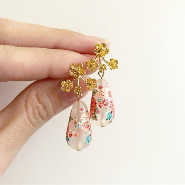 Frosted Sakura Blossoms Floral Earrings - Diary of a Miniature Enthusiast