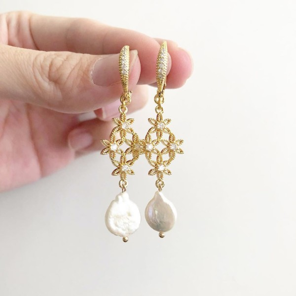 Purity Intricate CZ with Freshwater Pearls Long Earrings - Diary of a Miniature Enthusiast