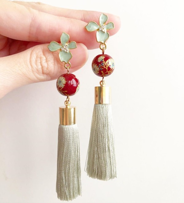 Wine Red Daffodils with Sage Premium Silk Tassels Floral Earrings - Diary of a Miniature Enthusiast