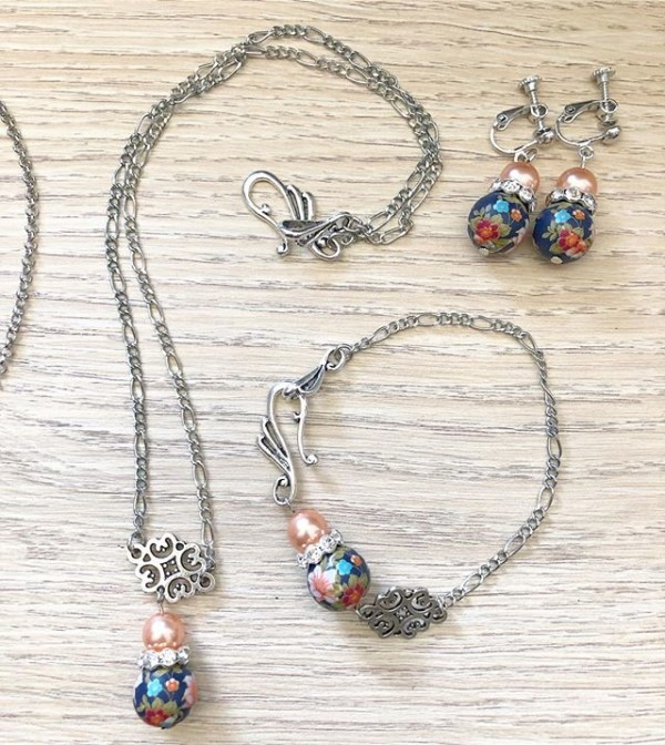 Silver and Blue Floral Earrings, Bracelet and Necklace - Diary of a Miniature Enthusiast