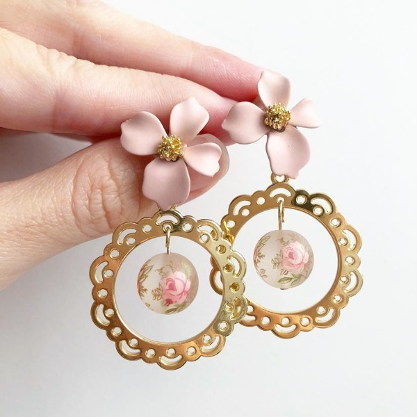 Frosted Pastel Rose Floral Earrings - Diary of a Miniature Enthusiast