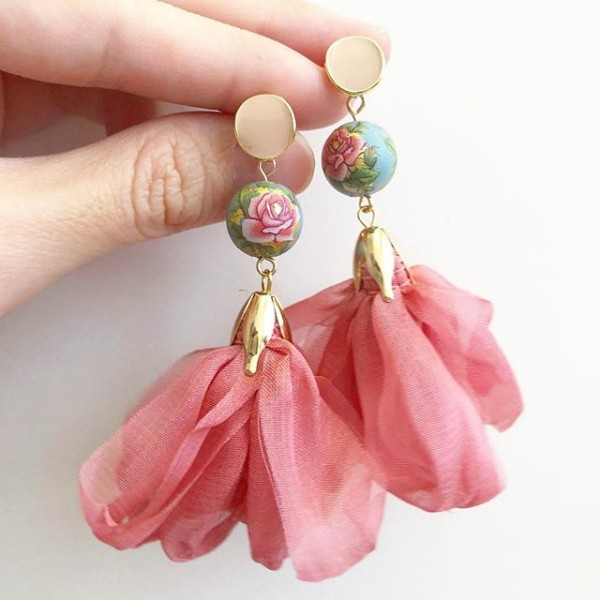 Dusty Blue Rose Pink Ribbon Flare Earrings - Diary of a Miniature Enthusiast