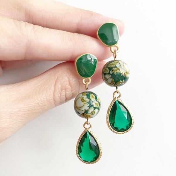 Vintage Camellia Emerald Green Teardrop Earrings - Diary of a Miniature Enthusiast