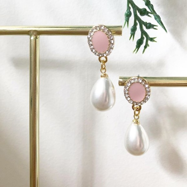 Pink with Pearls Earrings - Diary of a Miniature Enthusiast