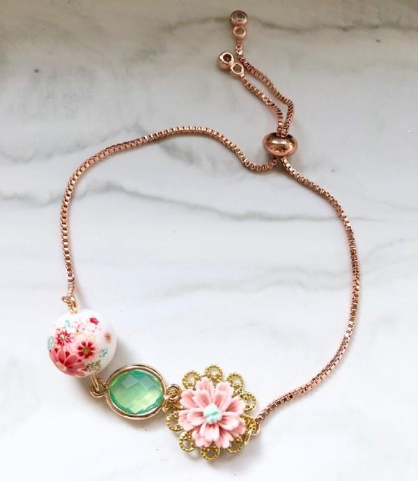 Tranquil Sakura Pink & Turquoise Adjustable Bracelet - Diary of a Miniature Enthusiast