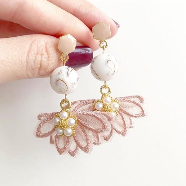 White Paisley Blush Flare Earrings - Diary of a Miniature Enthusiast