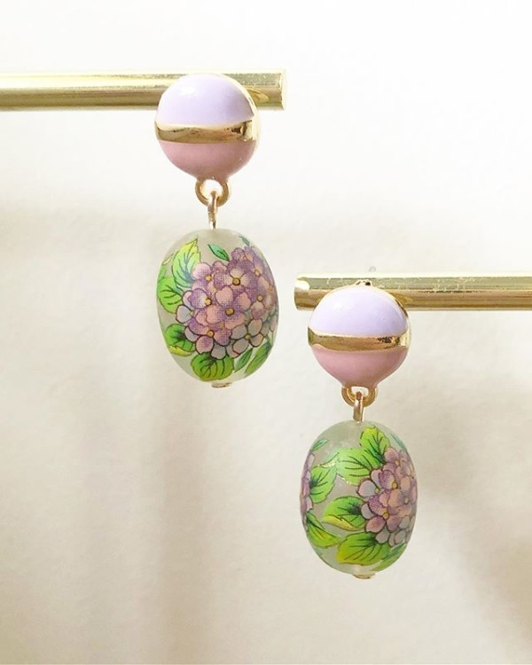 Purple and Green Floral Earrings - Diary of a Miniature Enthusiast
