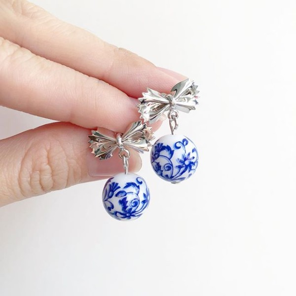 Blue China Bow Silver Earrings - Diary of a Miniature Enthusiast