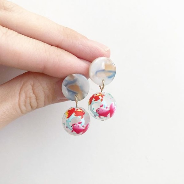 Frosted Goldfish Earrings - Diary of a Miniature Enthusiast
