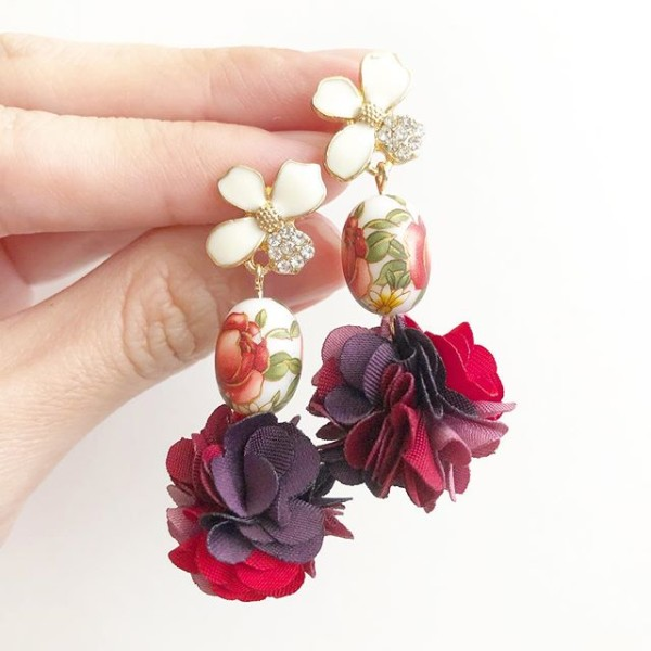 Red Rose Pompoms Floral Earrings - Diary of a Miniature Enthusiast