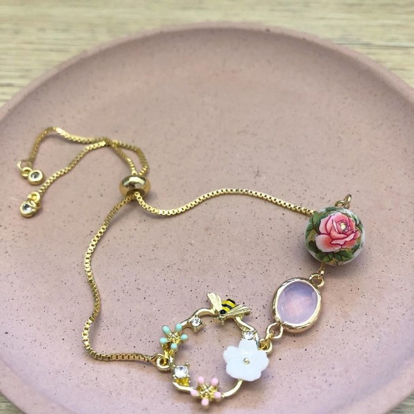 Classic Rose Garden Faceted Link Adjustable Bracelet - Diary of a Miniature Enthusiast