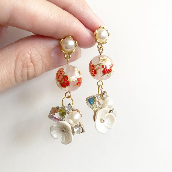 Frosted Plum Blossoms Floral Dangle Earrings - Diary of a Miniature Enthusiast