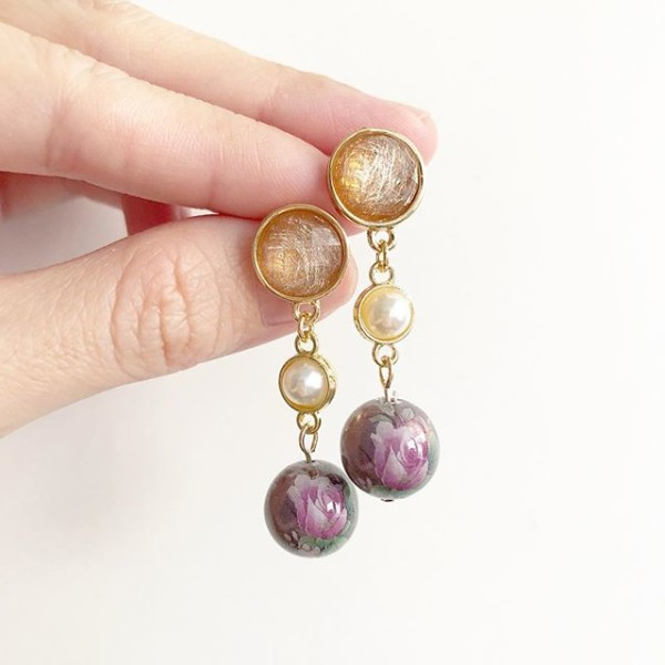 Pearl and Purple Floral Earrings - Diary of a Miniature Enthusiast