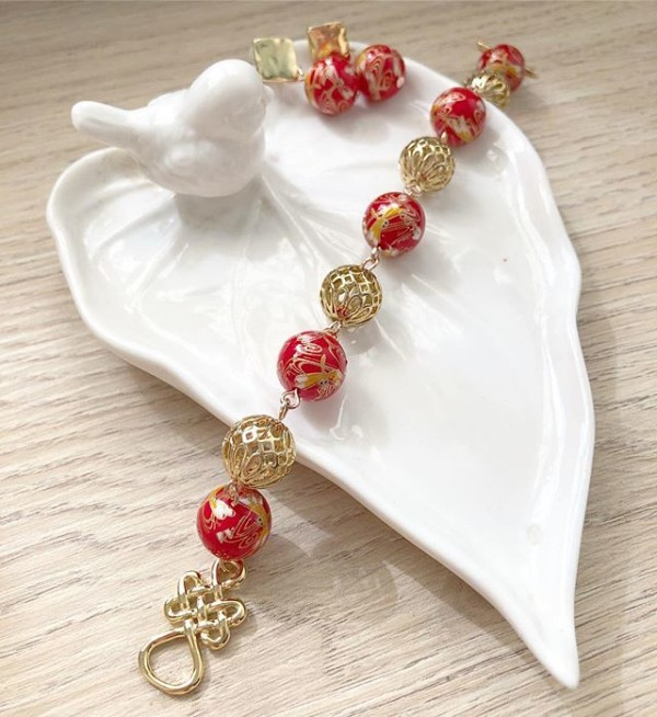 Red and Gold Earrings and Bracelet - Diary of a Miniature Enthusiast