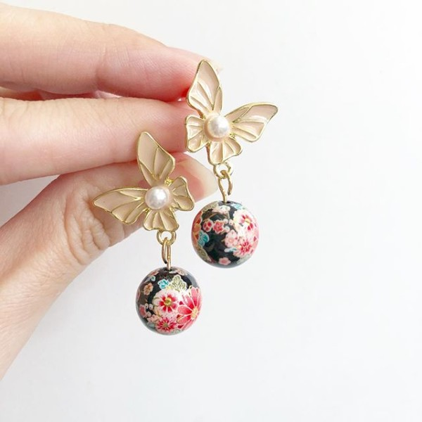 Black Sakura Blossoms Butterfly Earrings - Diary of a Miniature Enthusiast