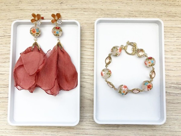 Peach Blush Lily Long Earrings - Diary of a Miniature Enthusiast
