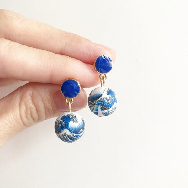 White Great Wave Blue Earrings - Diary of a Miniature Enthusiast