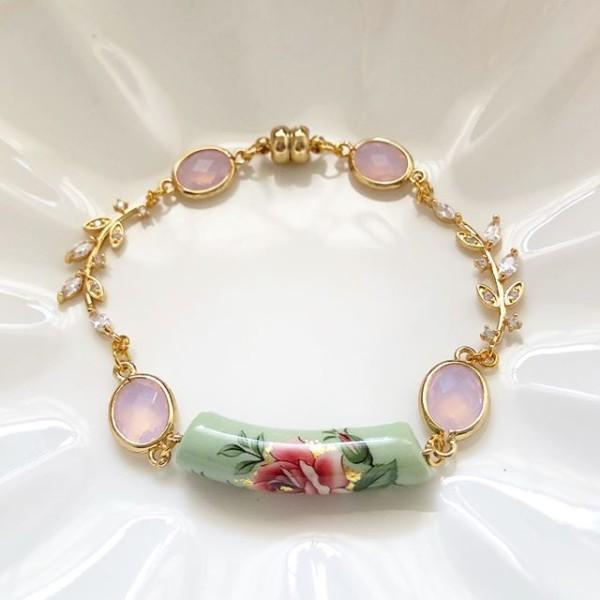 Classic Rose in Sage Ceramic Tensha Bracelet - Diary of a Miniature Enthusiast