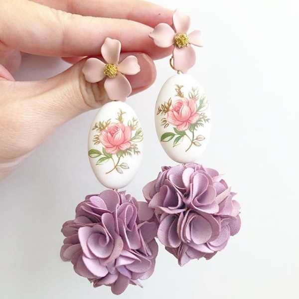 Pastel Pink Rose Statement Pompom Earrings - Diary of a Miniature Enthusiast