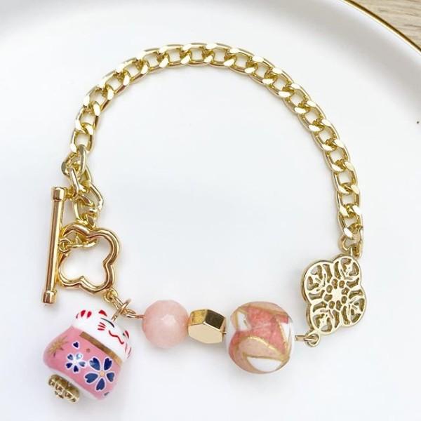 Pink Lucky Cat Tensha Charm Bracelet - Diary of a Miniature Enthusiast