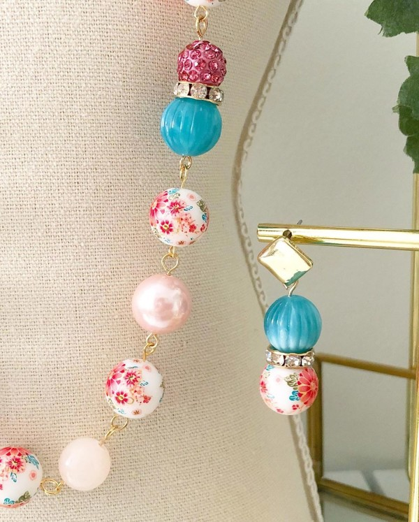 Tranquil Pink and Turquoise Sakura Earrings only - Diary of a Miniature Enthusiast