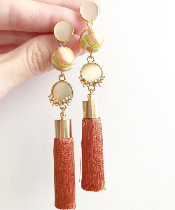 Peach Blossoms with Premium Silk Tassels Earrings - Diary of a Miniature Enthusiast