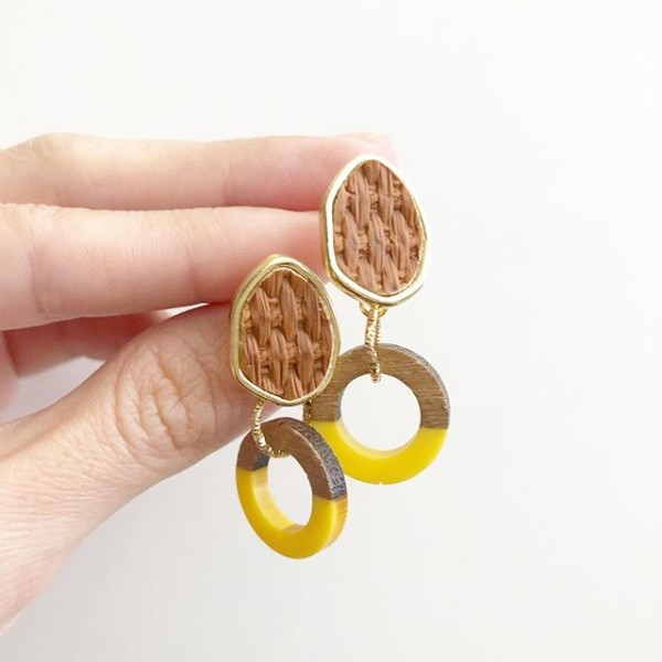Wood & Yellow Resin Earrings - Diary of a Miniature Enthusiast