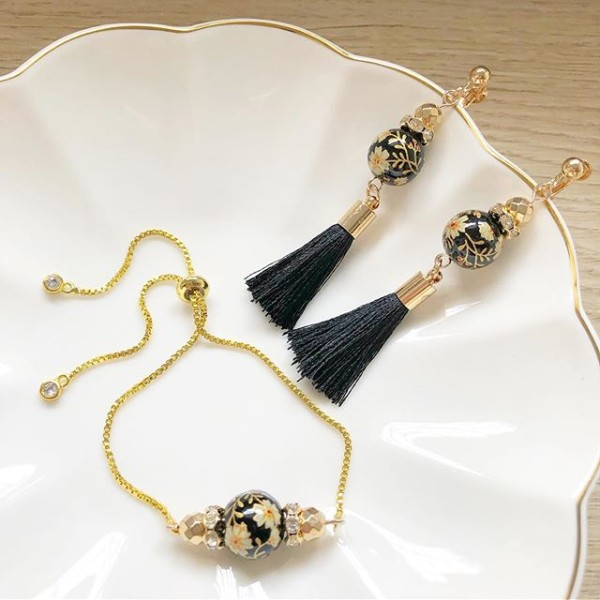 Black Floral Earrings and Adjustable Bracelet - Diary of a Miniature Enthusiast