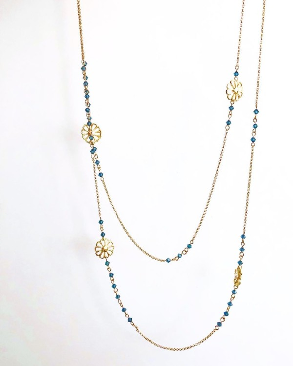 Blue and Gold Long Necklace - Diary of a Miniature Enthusiast
