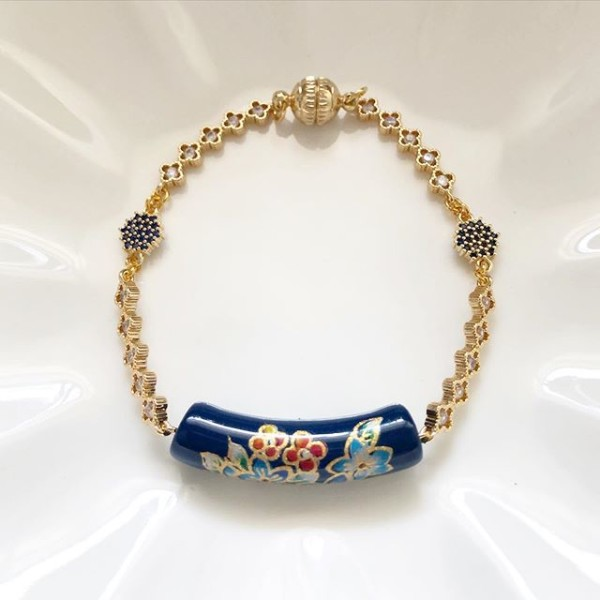 Bellflowers in Navy Ceramic Tensha Bracelet (Cubic Zirconia links) - Diary of a Miniature Enthusiast