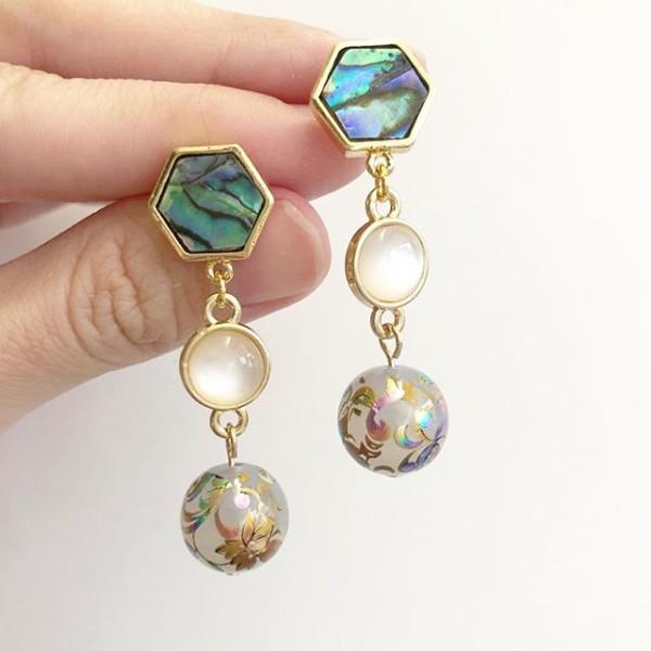 Mystic Swirls Opal Dangle Tensha Earrings - Diary of a Miniature Enthusiast