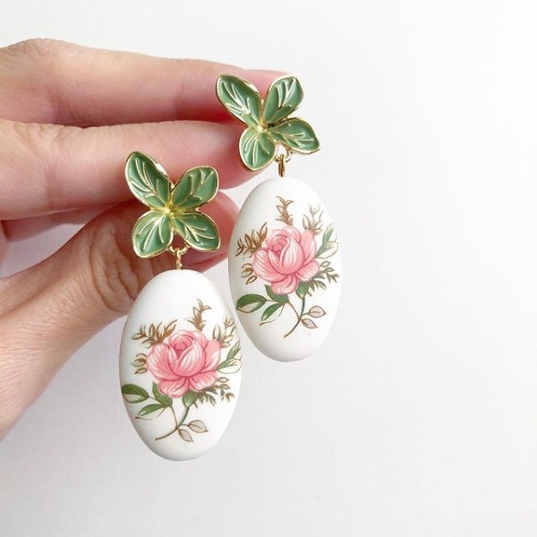 Pastel Pink Rose Statement Tensha Earrings - Diary of a Miniature Enthusiast