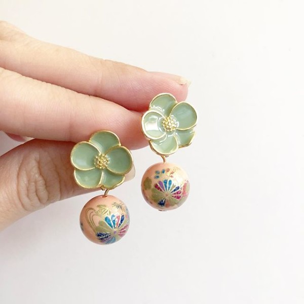 Pale Blush Kimono Floral Earrings - Diary of a Miniature Enthusiast