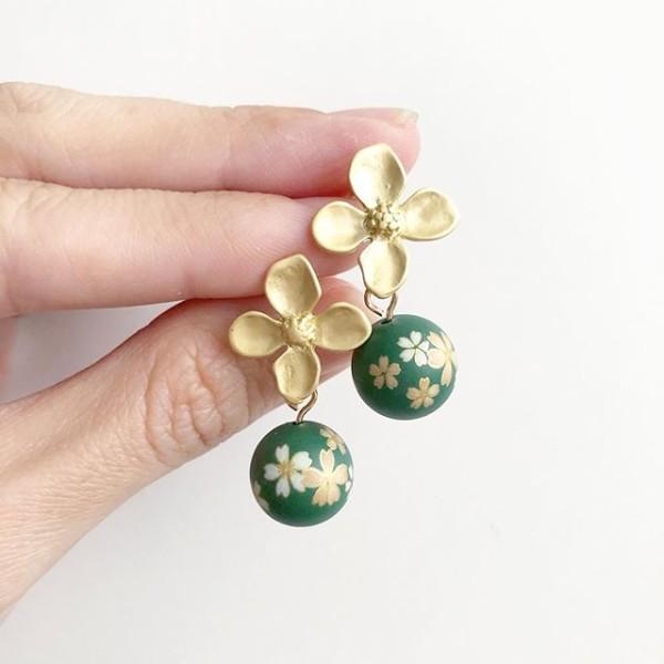 Emerald Green Sakura Earrings - Diary of a Miniature Enthusiast