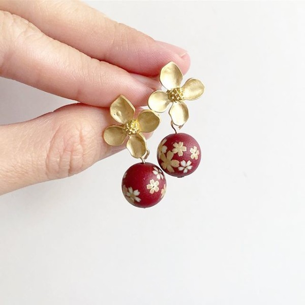 Wine Red Sakura Floral Earrings - Diary of a Miniature Enthusiast
