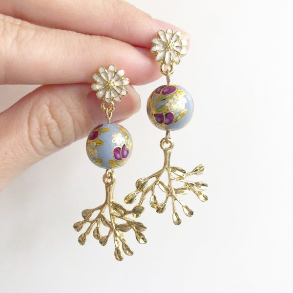 Purple Buds Baby Blue Floral Cabochon Earrings - Diary of a Miniature Enthusiast
