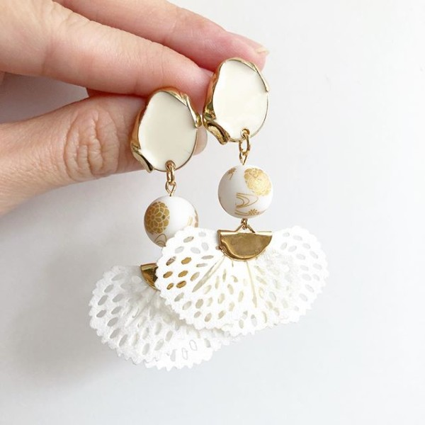 White and Gold Flare Earrings - Diary of a Miniature Enthusiast
