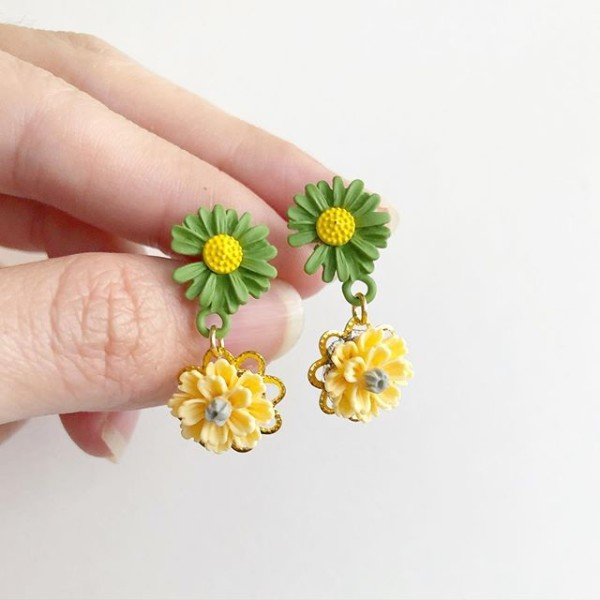 Springtime Blossoms Green Yellow Florals Earrings - Diary of a Miniature Enthusiast