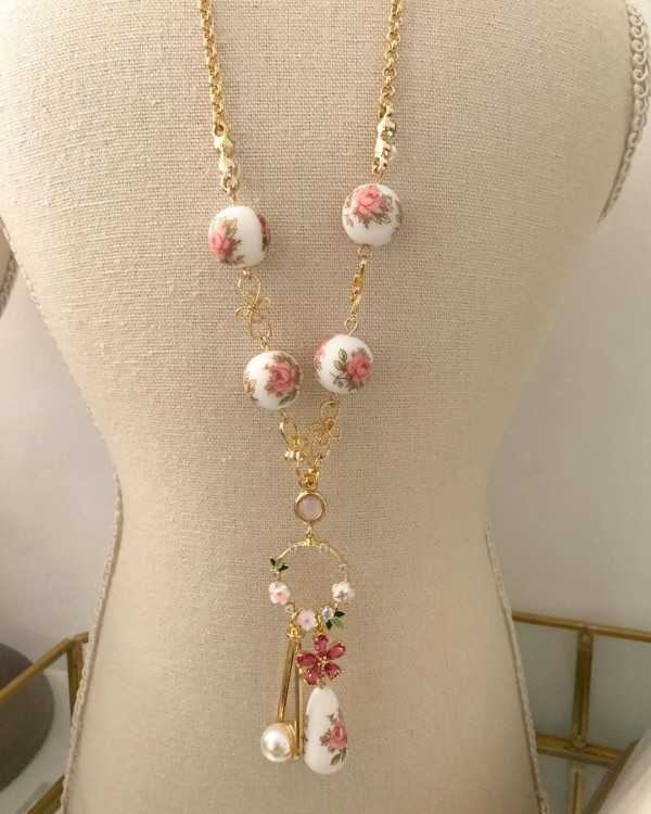 Pastel Pink Rose Long Necklace (70cm) - Diary of a Miniature Enthusiast