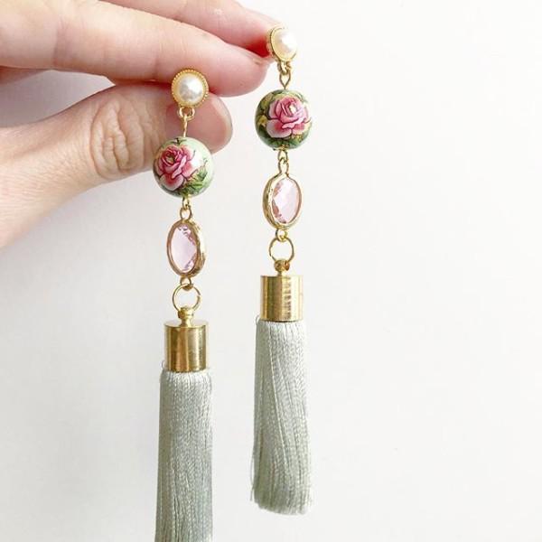 Nyonya Splendour Silk Tassels Earrings - Diary of a Miniature Enthusiast