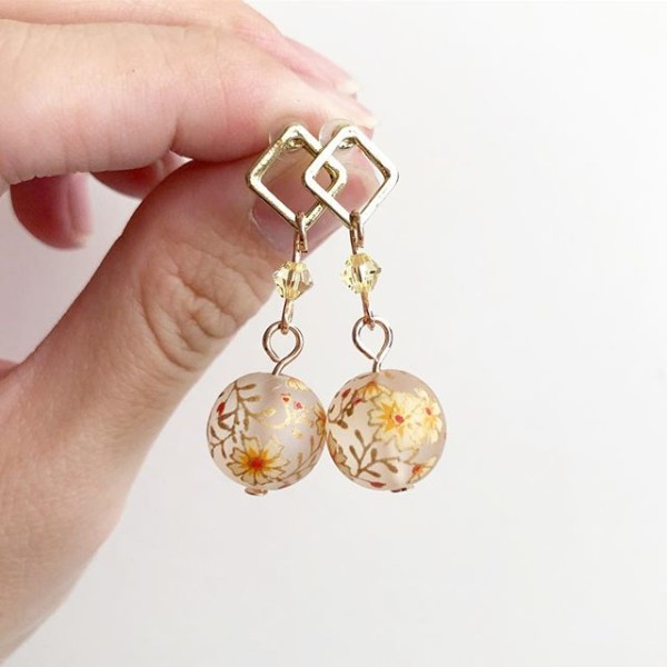 Yellow and Gold Floral Earrings - Diary of a Miniature Enthusiast