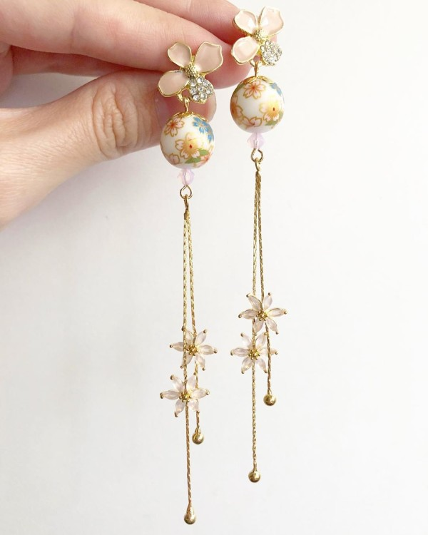 White Sakura Blooms Long Pale Pink CZ Earrings - Diary of a Miniature Enthusiast