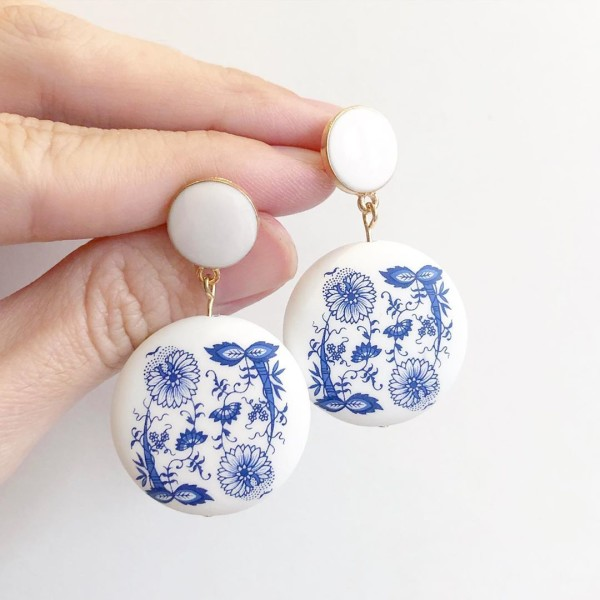 Matte Porcelain Statement White Earrings - Diary of a Miniature Enthusiast