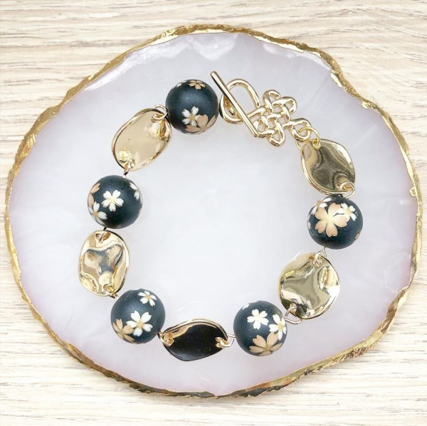 Black Sakura and Gold Bracelet - Diary of a Miniature Enthusiast
